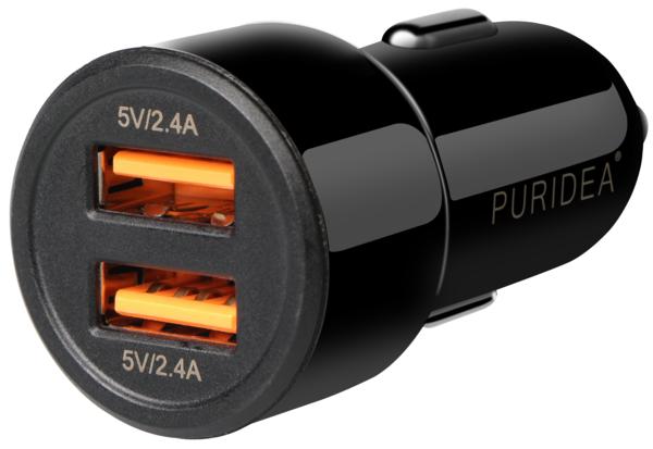 авто зарядка PURIDEA CC02 2xUSB Dual Fast Charge Black  5