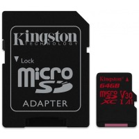 карта памяти KINGSTON microSDXC 64Gb Canvas React U3 A1 (R100/W80)+ad