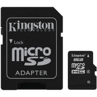 карта памяти KINGSTON microSDHC 8 GB Class 4 с SD адаптером