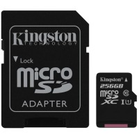 карта памяти KINGSTON microSDXC 256Gb Canvas Select U1 (R80/W10)+ad