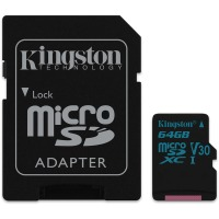 карта памяти KINGSTON microSDHC 64Gb Canvas Go U3 V30 (R90/W45)+ad
