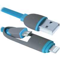 кабель DEFENDER USB10-03BP USB(AM)-MicroUSB+Lightning синий 1м