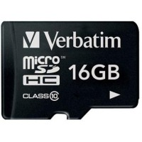 карта памяти VERBATIM CARD microSDHC 16Gb w/SD adapter 44082(CLASS 10)